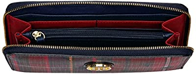 Tommy Hilfiger Wallet, Large Zip Wallets for Women, Stair Plaid Wallet