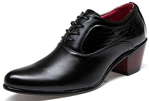 Zapatos charol de encaje 67 novia negocios Zapatos de tacones vestir hombres de con para de black altos de MLFMHR gloss 7 gw1qdBxg