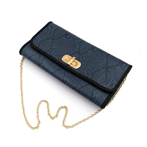 Premium Snakeskin PU Leather Turnlock Flap Handbag Clutch Bag, Navy