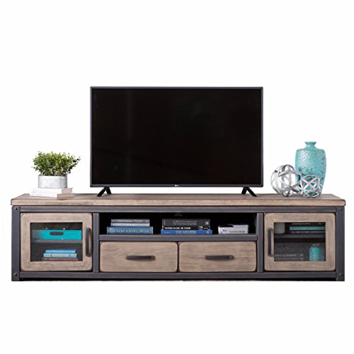 Modern Rustic Distressed Brown Gray Wood TV Stand Entertainment Center with 2 Drawers, 2 Cupboards and Open Shelf - Includes Modhaus Living Pen - City Chic Center