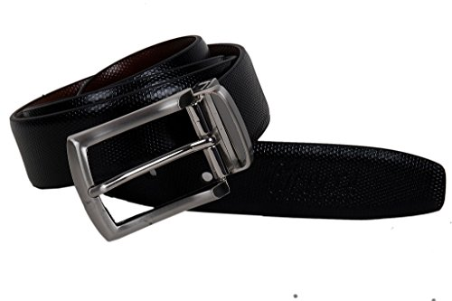 Nerita Men's Formal Italian Genuine Leather Reversible Belt with pin Buckle in 35 mm width Black and Brown-Cut to fit