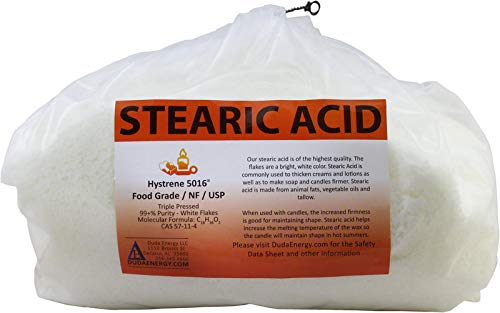 8 lb Stearic Acid Food Grade NF USP Pure White Flakes Hystrene 5016