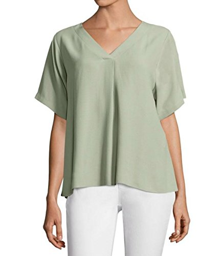 Eileen Fisher V-Neck Silk Top, Sea - Silk Fisher Womens Eileen