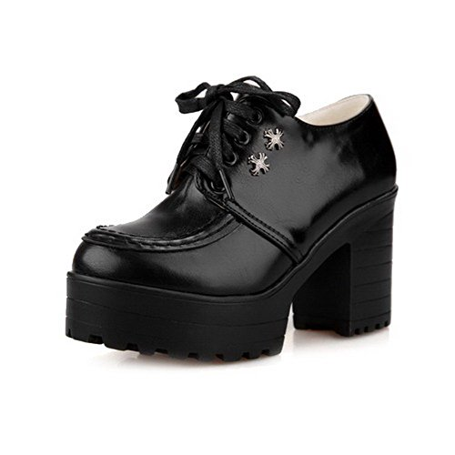 Toe Soft Round Shoes Black Solid Pumps up Material High Closed Heels VogueZone009 Lace Women's tq1ZCwwf
