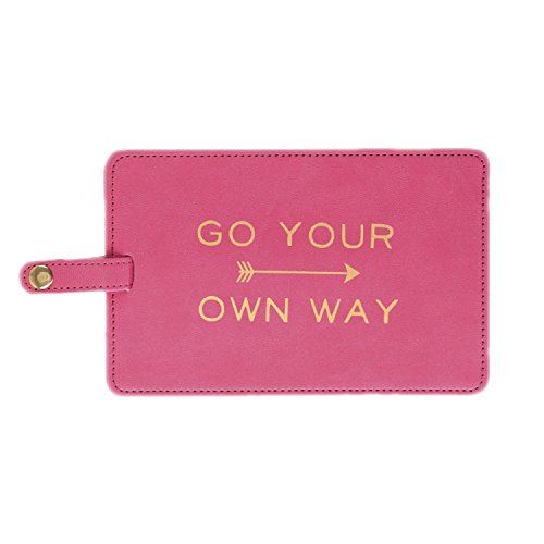 Chic Luggage Tags - Eccolo World Traveler Epic Jumbo Luggage Tag, Pink - Go Your Own Way, 4x6