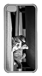 Customized iphone 5C PC Transparent Case - Black Cat Cover