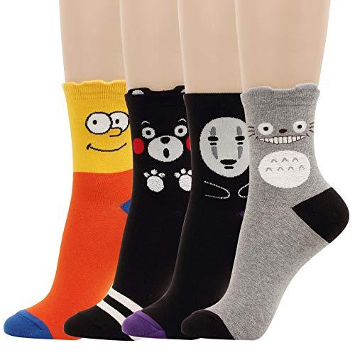 4 Pairs Animation Cartoon Character Women Socks Fun Japan Teens Crazy Novelty Girl Boy Novelty Cotton (Model 2)