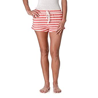 Active Basic Women's Striped French Terry Shorts with Drawstring and Side Pockets, Coral/Ivory, Small