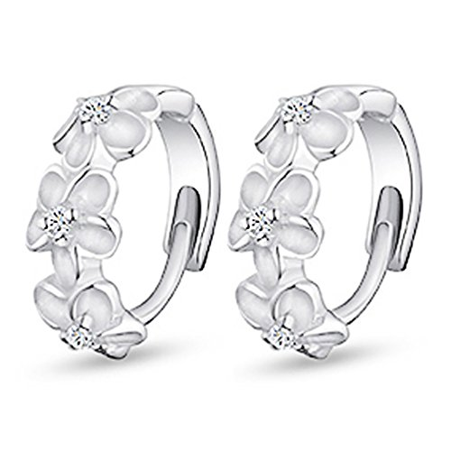 Elegant Lady Silver Plated Flower Shiny Rhinestone Huggie Hoop Earrings Jewelry Ameesi