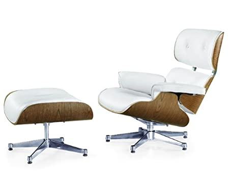 Amazing Charles Eames Inspired Lounge Chair With Ottoman Cream Uwap Interior Chair Design Uwaporg