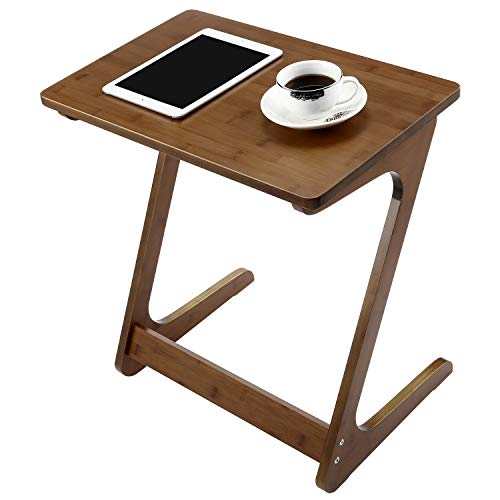 (NNEWVANTE End Table Tv Tray Z-Shape Bamboo Sofa Table Night Stand Snack Table Side Table for Couch/Sofa Bed Eating Writing Reading Living Room Home Office Decor-Walnut)