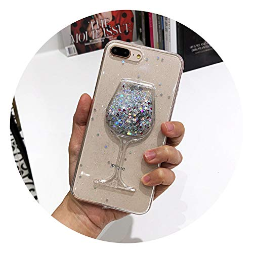 3D Glitter Stars Red Wine Glass Red Lips Liquid Quicksand Transparent Phone Case Cover for iPhone X XS MAX XR 5 SE 6 6S 7 8 Plus,TPU Soft Silver,for iPhone 7 Plus