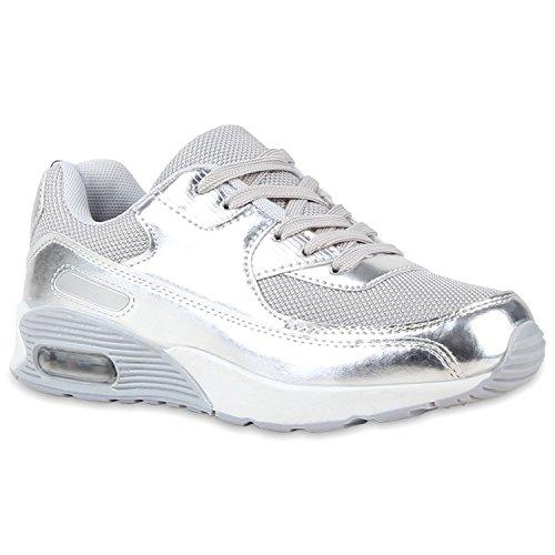 Kinder Sportschuhe Materialmix Bequeme Laufschuhe Schnürschuhe Sneakers Sneaker Profilsohle Flandell Silber