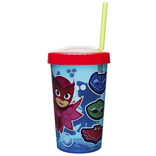 Zak Designs 16.5oz PJ Masks Tumbler With Embossed Lid And Durable Straw - Artwork In Domed Lid Makes Characters Pop Out; Splash-proof And Dishwasher Safe, PJ Masks E