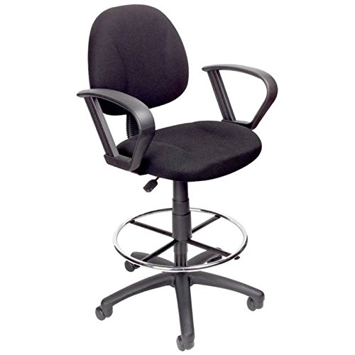 Pemberly Row Fabric Upholstered Office Drafting Stool in Black by Pemberly Row