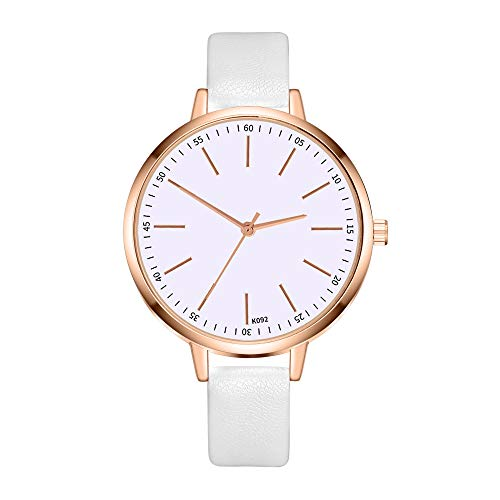 FakMe Women 's Wrist Watch - Leather Classic Watches - Quartz Business Stainless Steel Analog Ultrathin Watch for - Dial Eggshell