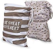ALVES YOGA 2pcs Washable/Reusable Wet Bags, Waterproof Wet Dry Gym Clothes Bags for Swimsuits or Wet Clothes,