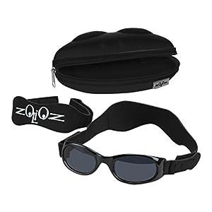 Tuga Baby/Toddler UV 400 Sunglasses w/ 2 Straps & Case, Black