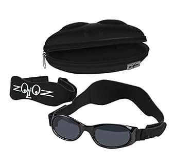 Tuga Baby/Toddler UV 400 Sunglasses w/2 Straps & Case, Black
