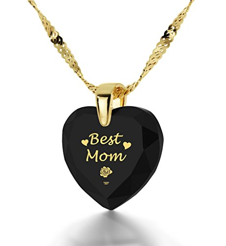 Gold Plated Best Mom Necklace - Heart Pendant Inscribed in 24k Gold on Black Cubic Zirconia by Nano Jewelry