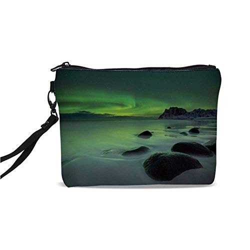 - Northern Lights Simple Cosmetic Bag,Magic Nature Panorama Coastline Oval Energy Sky Mist Picture for Women,9