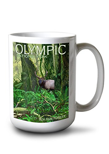 Lantern Press Olympic National Park, Washington - HOH Rain Forest (15oz White Ceramic Mug)