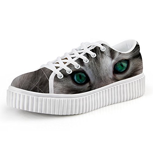 FOR U DESIGNS Stylish Women Low Top Platform Fashion Sneaker Lace-up Flat Size Cat 2 FRXIo17