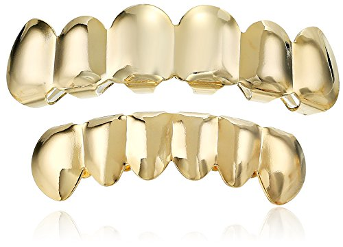 Fake Teeth Grills - 18K Gold Plated Brass Top And Bottom 6-Tooth Grillz Set