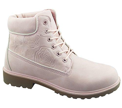 Damen Stiefel, knöchelhoch, geeignet für Wandern/Wüstenpfad, verarbeitete Senkel, rosa - rose - Größe: EU 37