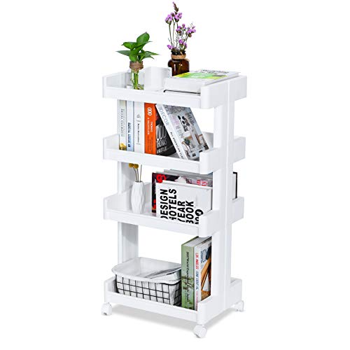 Mobile Coffee Carts - NAFURNO 4-Tier Rolling Storage Utility Cart Kitchen Office Bathroom Organizer Heavy Mobile Storage Utility Cart Space Saving & Easy Moving