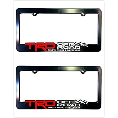 Xitek TF-ORB 3D Emblem SR5 TRD Off Road Racing Development License Plate Holder Frame Cover for Tundra Tacoma 4 Runner Land FJ Cruiser (2 Black): Automotive