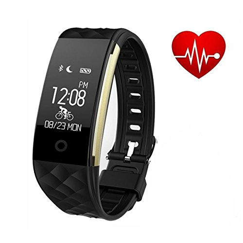 S2 Smart Bracelet with Heart Rate Monitor Wearable Waterproof wireless bluetooth 4.0 Sport Pedometer Call Message Remind fitness activity tracker for Android and IOS Phones by Lovfit