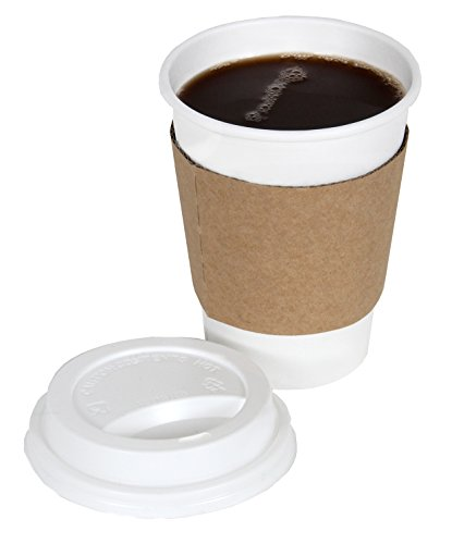 CucinaPrime 100 Pack Paper Coffee Hot Cups WHITE with Travel Lids and Sleeves - 12OZ ()