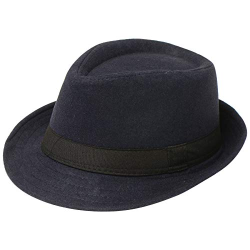 BABEYOND 1920s Panama Fedora Hat Cap for Men Gatsby Hat for Men 1920s Mens Gatsby Costume Accessories (Felt-Navy) -