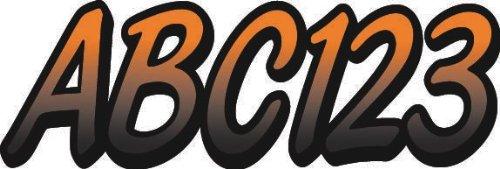 "STIFFIE Whipline Orange/Black 3"" Alpha-Numeric Registration Identification Numbers Stickers Decals for Boats & Personal Watercraft"
