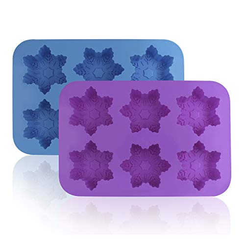 Silicone Snowflake Molds, FineGood 2 Pack Cake Pans Cookie Trays Handmade Soap Making Moulds, Also for Chocolate Pudding Jelly Muffin Cups Kitchen Baking Decoration, 6-Cavity - Blue, Purple]()