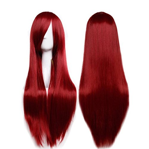 Custom trend unique natural long straight synthetic mermaid red womens hair wig replica wig Adjust bangs to your