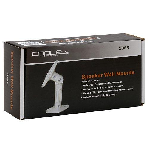 Cmple - Speaker Wall/Ceiling Mount for Satellite Speakers - White Pair