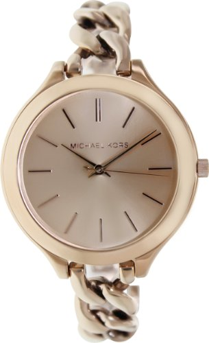 Womens Steel Stainless Fossil Bracelet (Michael Kors Women's MK3223 Slim Runway Rose Gold-Tone Stainless Steel Bracelet Watch)