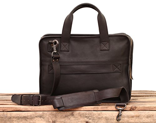 LE CONQUÉRANT Marrón Oscuro maletín de cuero cartera de mano PAUL MARIUS �?