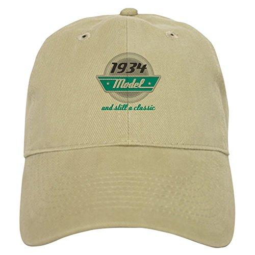 (CafePress 1934 Birthday Vintage Chrome Cap Baseball Cap with Adjustable Closure, Unique Printed Baseball Hat Khaki)