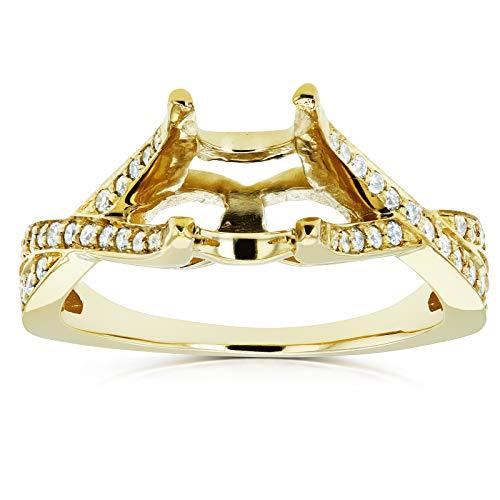 Diamond Semi Mount Engagement Ring Crossover Pave-set, 1/4 CTW 14k Yellow Gold (No Center Stone), 9