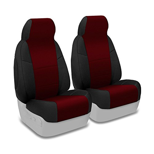 Coverking Custom Fit Front 50/50 Bucket Seat Cover for Select Mazda 6 Models - Neosupreme (Wine with Black Sides)