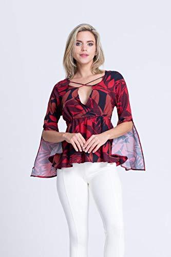 Blusa Clara Arruda Viscose Decote Cruzado 20406 - M - Estampa Vermelha