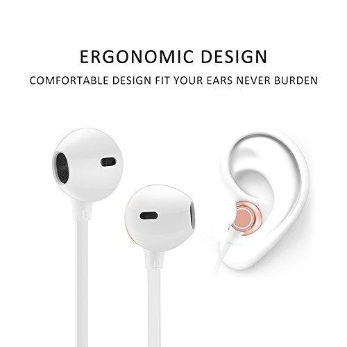 Bluetooth Earphones Moojay Wireless Earbuds IPX5 Waterproof w/Mic in-Ear Magnet HD Stereo Heavy Bass Headset Long Playtime up to 6Hours Rose Gold