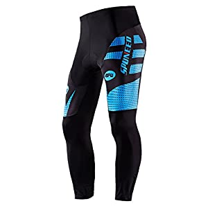 Sponeed Men's Cycling Pants Long Bicycling Tights Cushioned Bike Pant Elastic Riding Clothes Asian L/ US M Blue