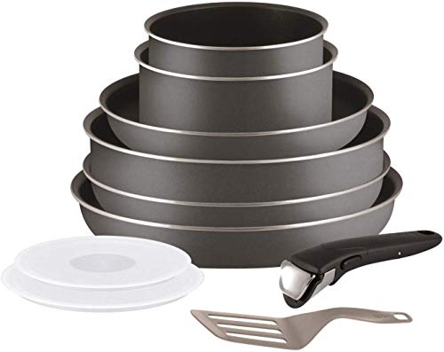 Tefal Ingenio l2049602 Set mit 10 Teile Kochgeschirr Kochtopf Töpfe und Pfannen Set, Grau ( für Alle Hitze Sources außer Induktion)