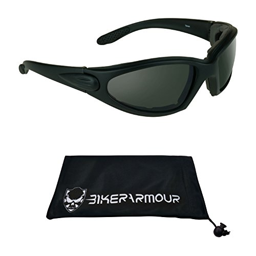 Motorcycle Sunglasses Foam Padded with Safety Polycarbonate Smoke Lenses. Free Microfiber Cleaning Case