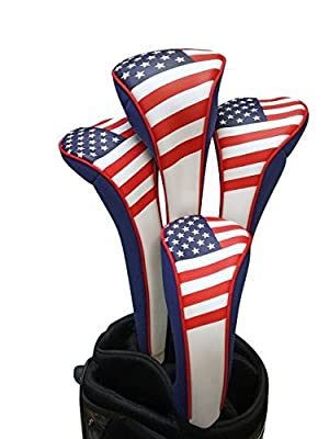 Majek USA Patriot Golf Zipper Head Covers 1 3 5 H Driver Hybrid Fairway Headcovers