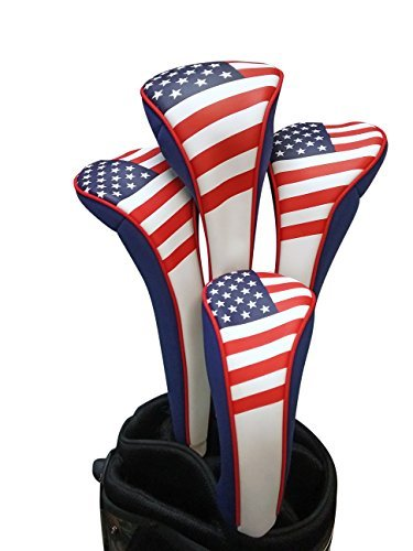 Majek USA Patriot Golf Zipper Head Covers 1 3 5 H Driver Hybrid Fairway Headcovers ()